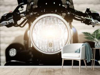 Close up Headlight of modern motorcycle in night..