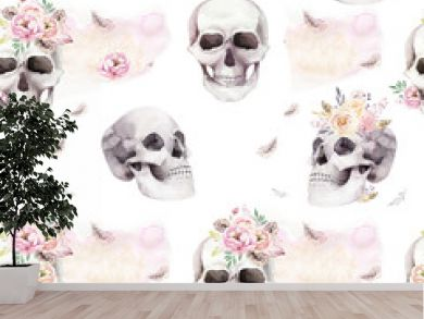 Vintage watercolor patterns with skull and roses, wildflowers, Hand drawn illustration in boho style. Floral skull wallpaper, Day of The Dead