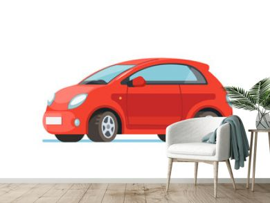 Vector flat illustration of a happy young woman driver sitting rides in his red car. Design concept of buy a new car