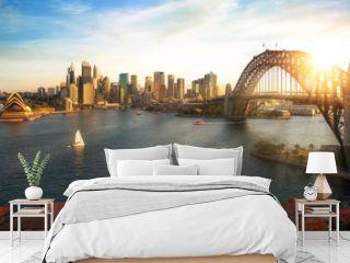 Sydney harbour and bridge in Sydney city