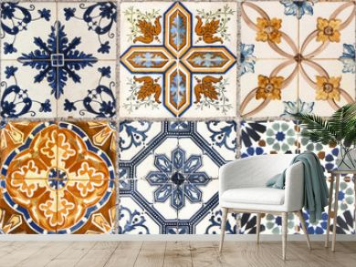 Wall from colorful ceramic tiles for background.