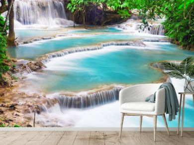 Turquoise water of Kuang Si waterfall