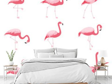 Set of isolated pink flamingoes, tropical flamingo