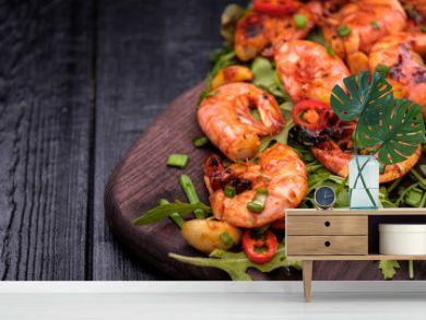 Fried Prawns with pepper, garlic and lemon. Mediterranean cuisine. Asian cuisine.