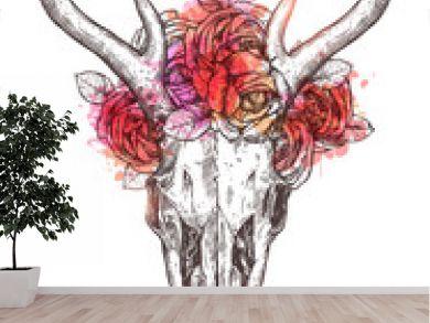 Sketch Of Deer Skull With Flowers Wreath. Boho Hand Drawn Illustration