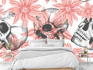 Fashion seamless pattern with hand drawn sculls and flowers background, vector illustration