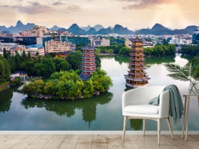 Aerial view of Guilin park with twin pagodas in China
