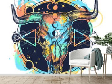 Bison skull tattoo watercolor splashes style. Native American bull skull symbol of secret knowledge, Shamanism. Soul of prairies against background of the Universe t-shirt design