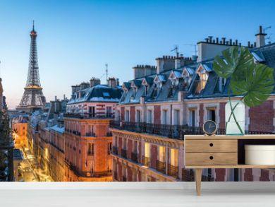 Über den Dächern von Paris mit Blick auf den Eiffelturm, Frankreich