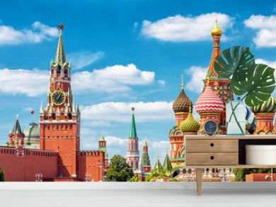 Moscow Kremlin and St Basil's cathedral, Russia. Beautiful panorama of Moscow city center in summer.
