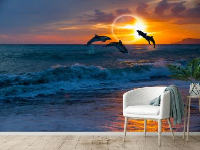 Couple dolphins jumping on the water with solar eclipse