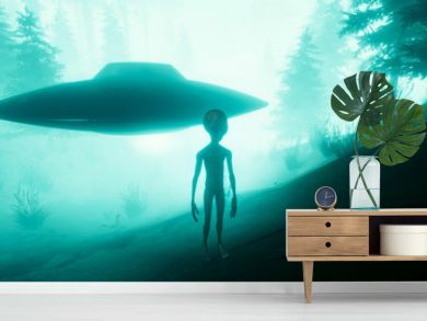 Extremely detailed and realistic high resolution 3d illustration of a Grey Alien standing in a forest