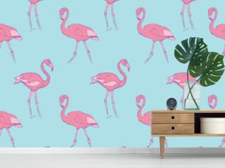 pattern with a rose flamingo on a blue background.