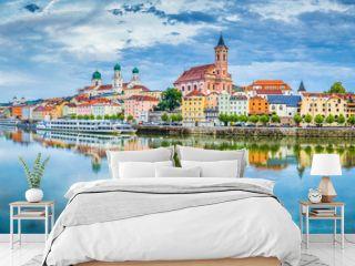 Passau city panorama with Danube river at sunset, Bavaria, Germany