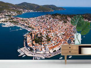 Top view of the Poros island Sea harbor, Aegean sea, Greece.