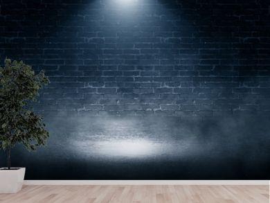 Background of empty brick wall, concrete floor, neon light, sear