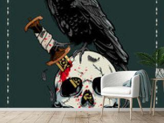 Halloween skull with crow illustration