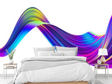 Liquid spiral ribbon with glossy bright holographic neon trendy colors