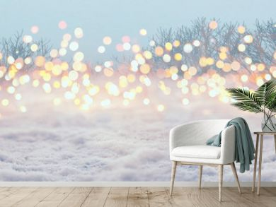 Magic winter landscape with snow and golden bokeh lights  -  Banner, Panorama, Background