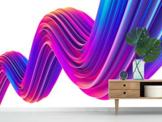 3D render abstract holographic ultra violet fluid shape for trendy Christmas design