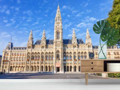 VIENNA / AUSTRIA - October 19, 2013: Picturesque view of Gothic building of Vienna City Hall. Wiener Rathaus
