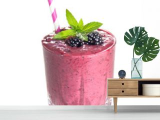 blackberry smoothies juice a tasty healthy drink in a glass, drink the morning on white  background.