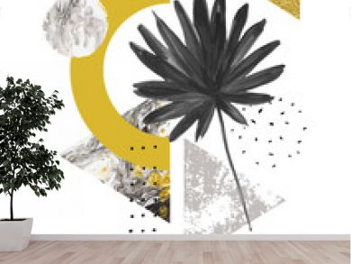Abstract summer geometric shapes, exotic leaf. Triangles filled with marble, grunge textures, doodles, watercolor fan palm leaf. Hand painted geometrical art illustration in modern minimal style