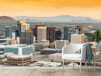 Panoramic aerial view over Downtown Phoenix, Arizona