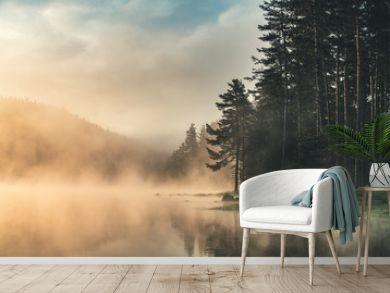 Morning fog on the lake, sunrise shot