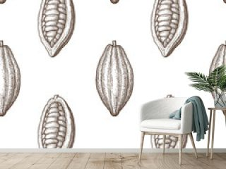 Seamless pattern with cocoa fruits