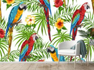 Tropical seamless pattern with parrots.