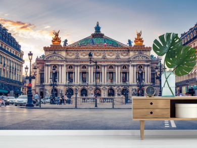 French Opera in Paris, France.  Scenic skyline against sunset sky. Travel background.