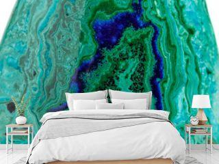 Macro mineral stone malachite with azurite on white background