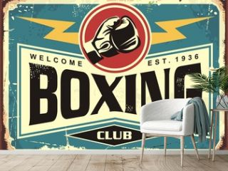 Boxing club retro tin sign template design. Sport and recreation promotional poster. Vector illustration.