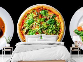italian food set isolated on black , pizza, beef cheeks and fish
