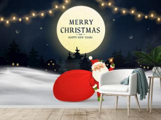Merry Christmas. Happy new year. Funny Santa Claus with red bag with presents, gift boxes, christmas tree, jingle bell in christmas snow scene. Happy Santa Claus cartoon character in winter landscape