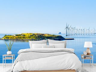 Island Middelgrundsfortet and offshore wind turbines on the coast of Copenhagen in Denmark