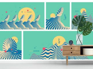 Landscape background. Terrain. Abstract wavy background. Pattern with optical illusion. Cover design template. Asian vector illustration.