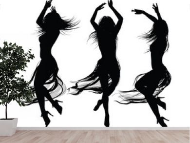 group of  girls  dancing and jumping