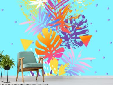 Modern illustration with tropical leaves, marbling textures, doodles, geometric, minimal elements.