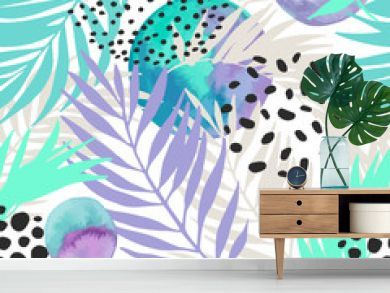 Floral and geometric background with palm leaves, doodle, watercolor texture, stains, 80s 90s shapes