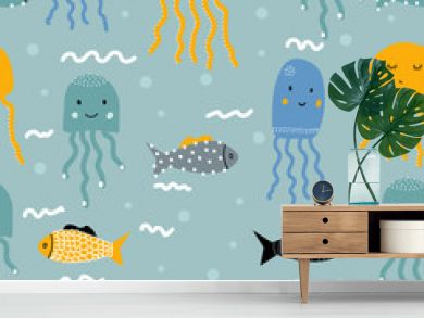 Seamless pattern with fish and jellyfish. For printing on children's clothes. Scandinavian style.