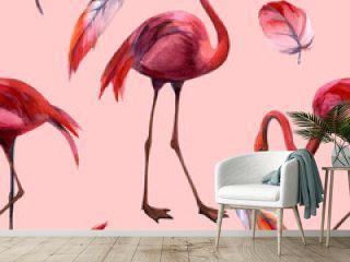 Watercolor flamingo pattern. Hand Drawn bird. Print for textile, cloth, wallpaper, scrapbooking