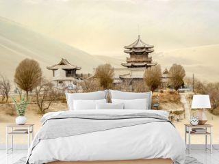 Mingsha shan sand mountain and Crescent moon lake in Dunhuang, Gansu, China