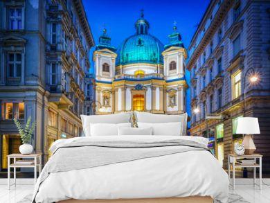 Peters Church on Petersplatz. Vienna, Austria. Evening view..