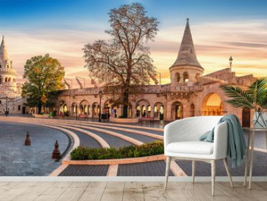 Interior high resolution panoramic view of the Old Fishermen Bastion in Budapest, Hungary in the morning.