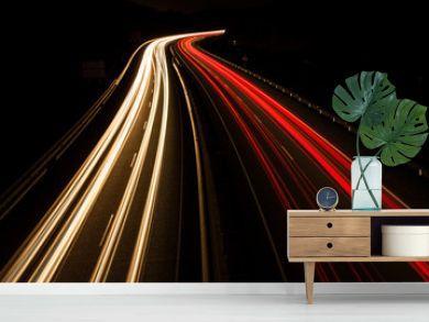 Highway car light trails at night