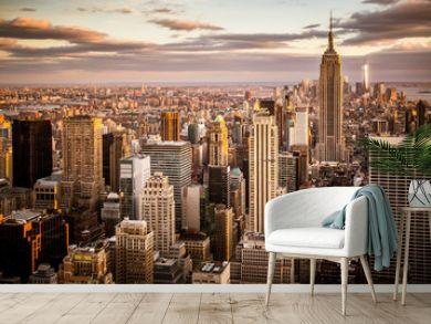 Beautiful sunset over skyline of New York City Midtown Manhattan