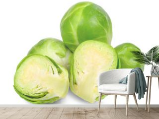 Brussle sprout isolated on white clipping path