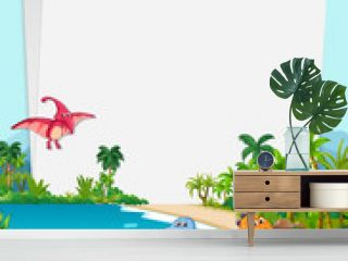 Dinosaur in nature paper theme